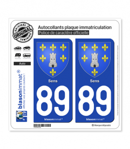 89 Sens - Armoiries | Autocollant plaque immatriculation