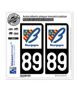 89 Bourgogne - LogoType | Autocollant plaque immatriculation