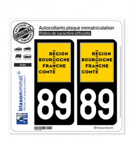 89 Bourgogne-Franche-Comté - LogoType | Autocollant plaque immatriculation