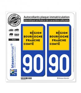 90 Bourgogne-Franche-Comté - LogoType | Autocollant plaque immatriculation