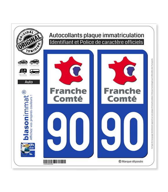 90 Franche-Comté - LogoType | Autocollant plaque immatriculation