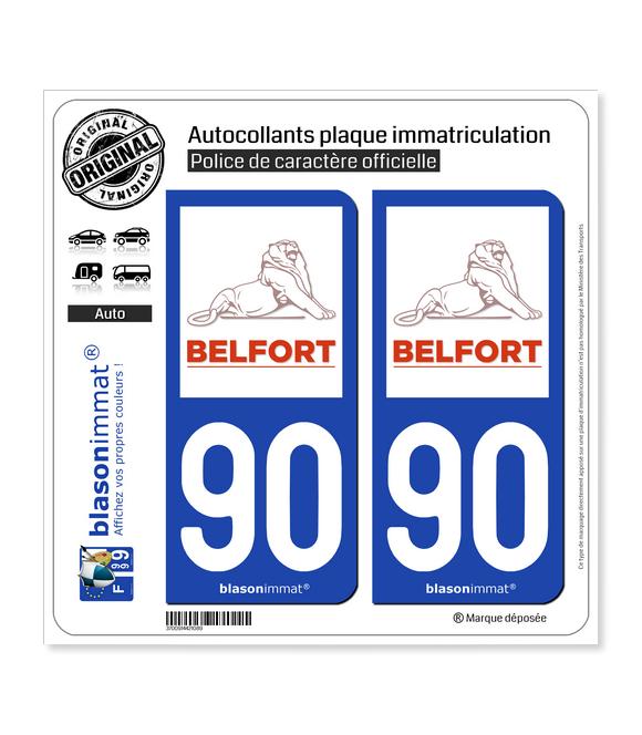 90 Belfort - Ville | Autocollant plaque immatriculation