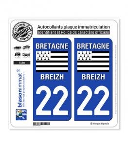 22 Bretagne - LogoType | Autocollant plaque immatriculation