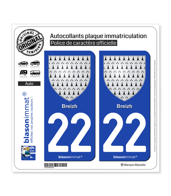 22 Breizh - Armoiries | Autocollant plaque immatriculation