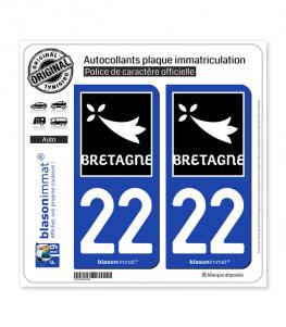 22 Bretagne - Région | Autocollant plaque immatriculation