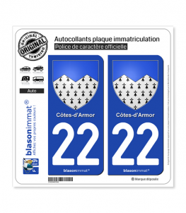 22 Côtes-d'Armor - Armoiries | Autocollant plaque immatriculation