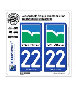 22 Côtes-d'Armor - Département | Autocollant plaque immatriculation
