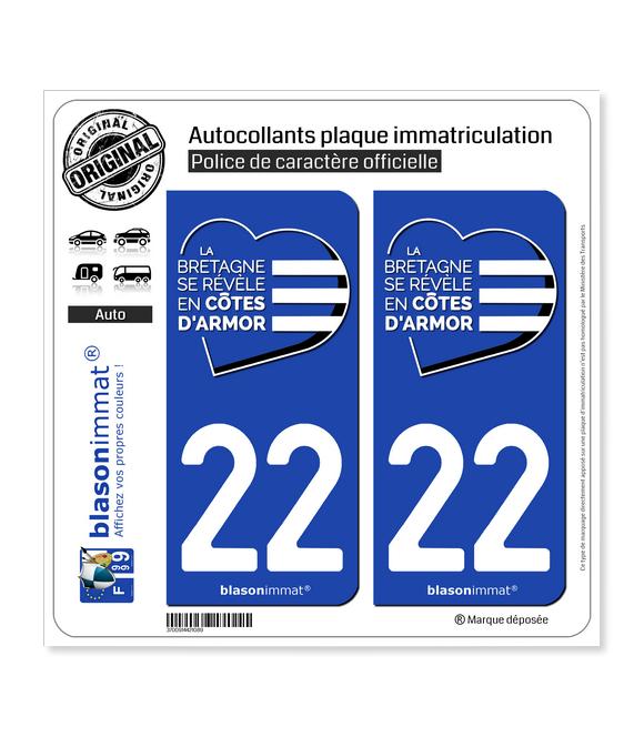 22 Côtes-d'Armor - Tourisme | Autocollant plaque immatriculation