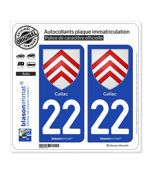 22 Callac - Armoiries | Autocollant plaque immatriculation