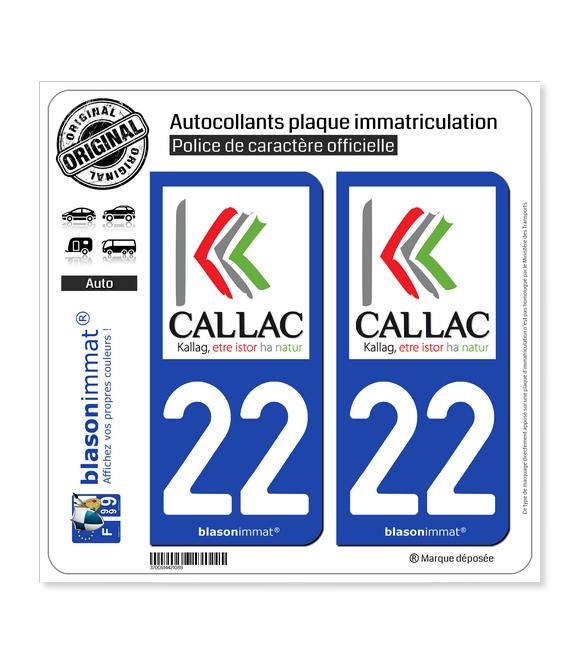 22 Callac - Ville | Autocollant plaque immatriculation