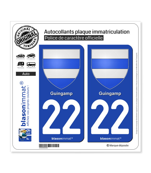 22 Guingamp - Armoiries | Autocollant plaque immatriculation