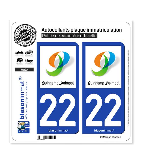 22 Guingamp - Agglo | Autocollant plaque immatriculation