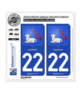 22 Lannion - Armoiries | Autocollant plaque immatriculation