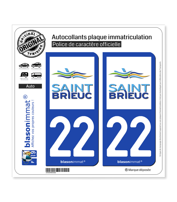 22 Saint-Brieuc - Ville | Autocollant plaque immatriculation