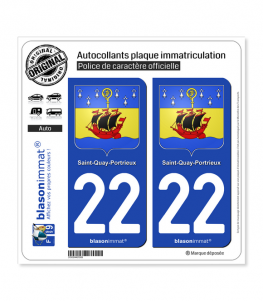 22 Saint-Quay-Portrieux - Armoiries | Autocollant plaque immatriculation