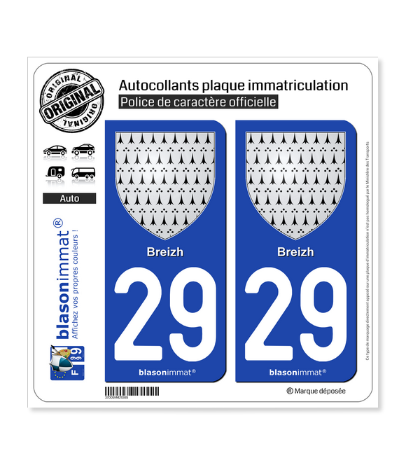29 Breizh - Armoiries | Autocollant plaque immatriculation