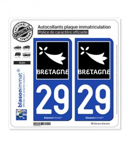 29 Bretagne - Région | Autocollant plaque immatriculation