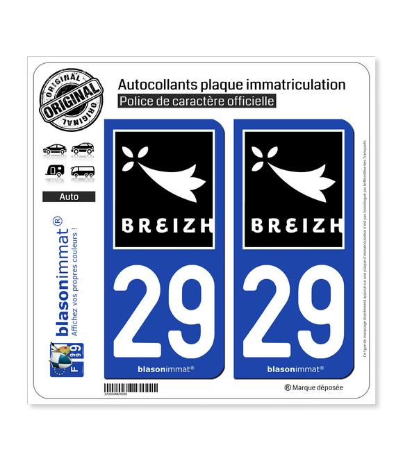 29 Breizh Rannvro | Autocollant plaque immatriculation