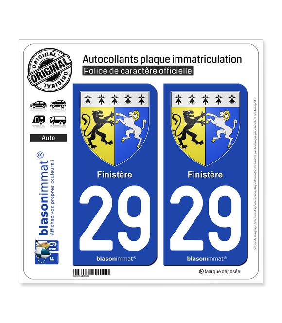 29 Finistère - Armoiries | Autocollant plaque immatriculation