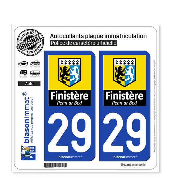 29 Finistère - Département | Autocollant plaque immatriculation
