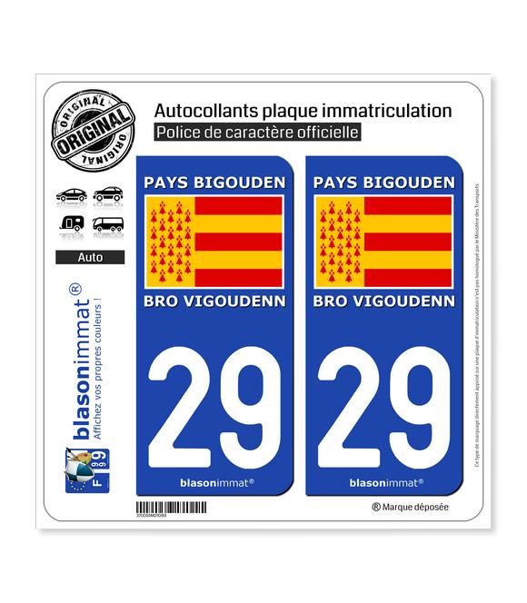 29 Pays Bigouden - Drapeau | Autocollant plaque immatriculation
