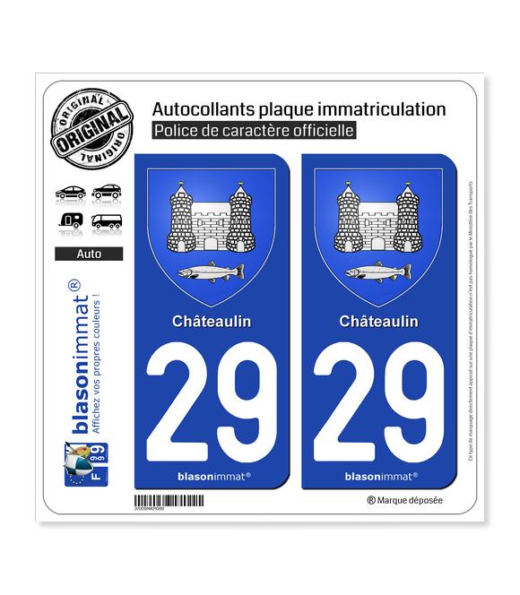 29 Châteaulin - Armoiries | Autocollant plaque immatriculation