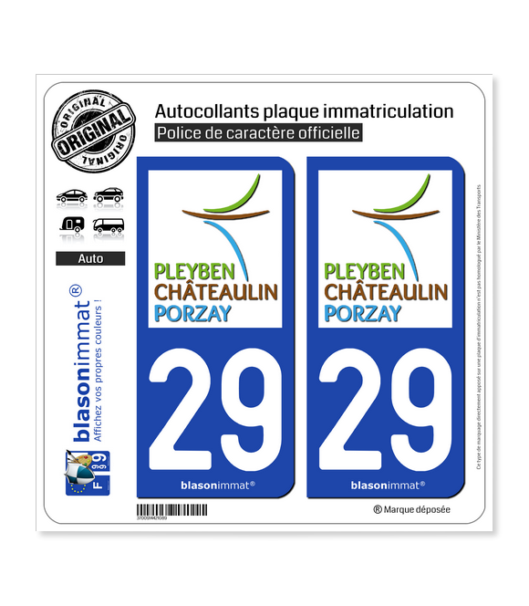 29 Châteaulin - Agglo | Autocollant plaque immatriculation