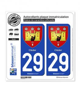 29 Cléder - Armoiries | Autocollant plaque immatriculation
