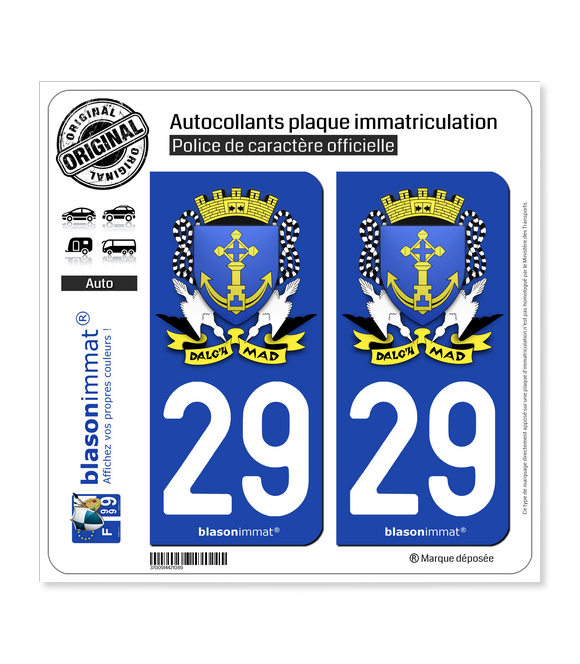 29 Douarnenez - Armoiries | Autocollant plaque immatriculation