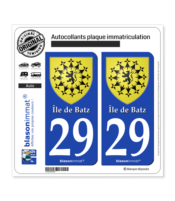 29 Île de Batz - Armoiries | Autocollant plaque immatriculation