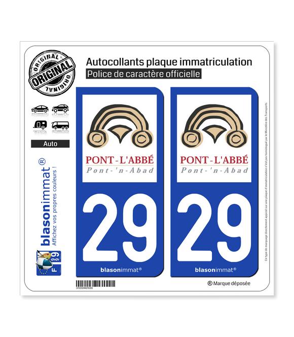 29 Pont-l'Abbé - Ville | Autocollant plaque immatriculation