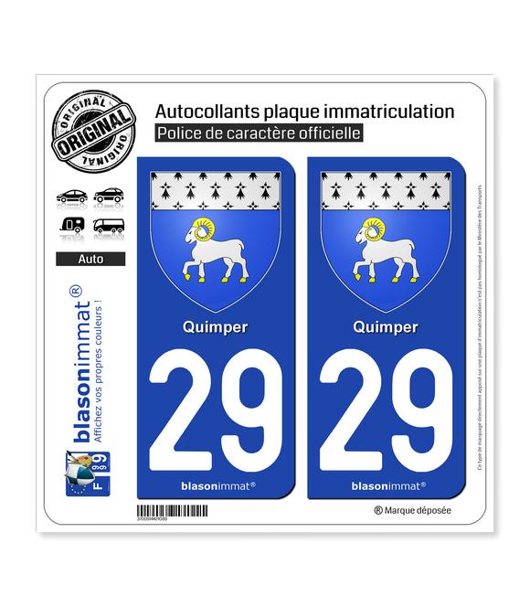 29 Quimper - Armoiries | Autocollant plaque immatriculation