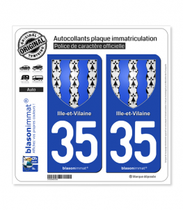 35 Ille-et-Vilaine - Armoiries | Autocollant plaque immatriculation