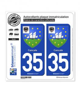 35 Cancale - Armoiries | Autocollant plaque immatriculation