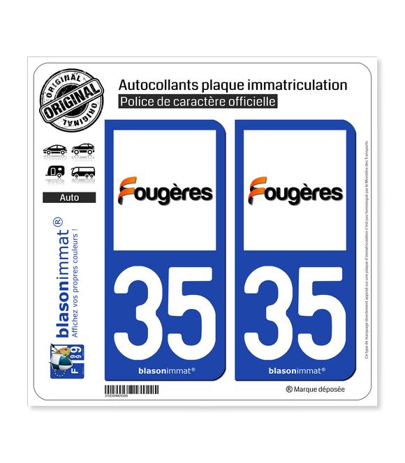 35 Fougères - Ville | Autocollant plaque immatriculation