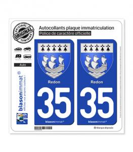 35 Redon - Armoiries | Autocollant plaque immatriculation