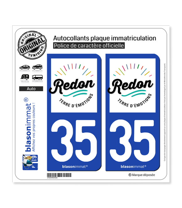 35 Redon - Ville | Autocollant plaque immatriculation