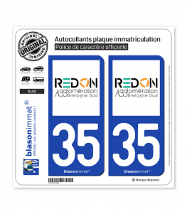 35 Redon - Agglo | Autocollant plaque immatriculation