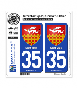 35 Saint-Malo - Armoiries | Autocollant plaque immatriculation