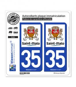 35 Saint-Malo - Ville | Autocollant plaque immatriculation