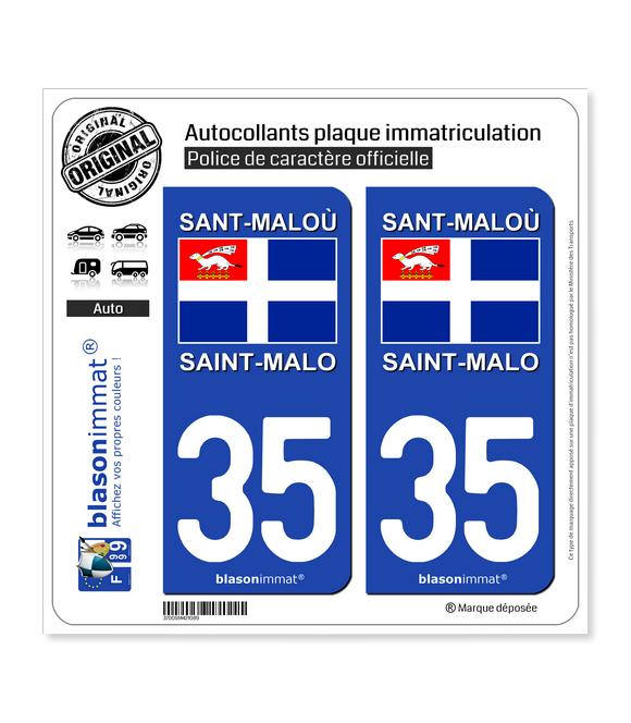 35 Saint-Malo - Drapeau | Autocollant plaque immatriculation