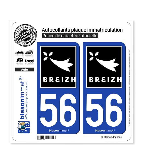 56 Breizh - Rannvro | Autocollant plaque immatriculation