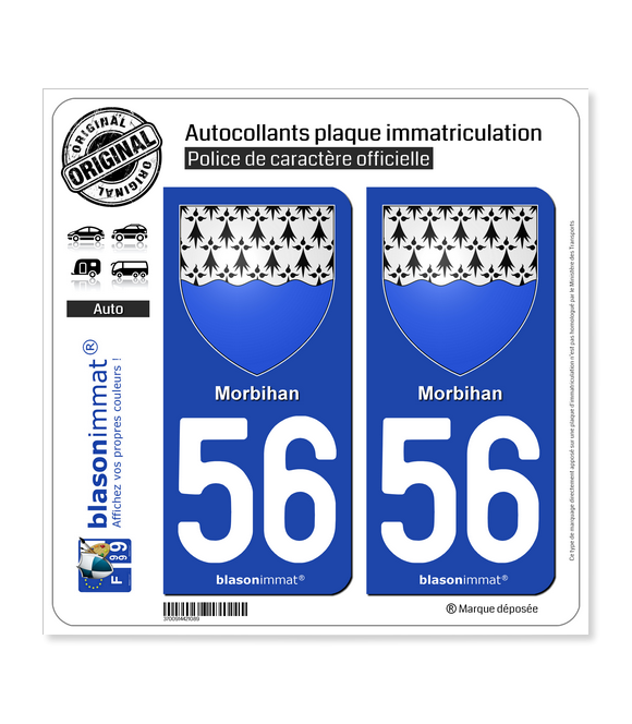 56 Morbihan - Armoiries | Autocollant plaque immatriculation