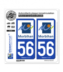 56 Morbihan - Département | Autocollant plaque immatriculation