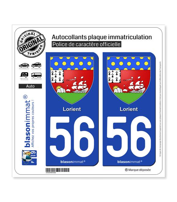 56 Lorient - Armoiries | Autocollant plaque immatriculation