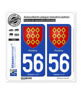 56 Pontivy - Armoiries | Autocollant plaque immatriculation