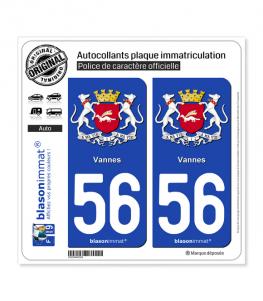 56 Vannes - Armoiries | Autocollant plaque immatriculation
