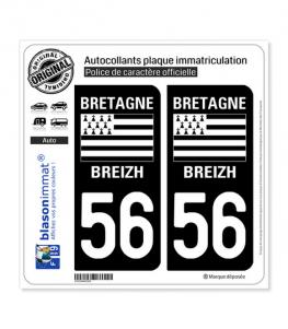 56 Bretagne - LogoType | Autocollant plaque immatriculation