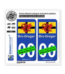 Trégor - Drapeau | Autocollant plaque immatriculation