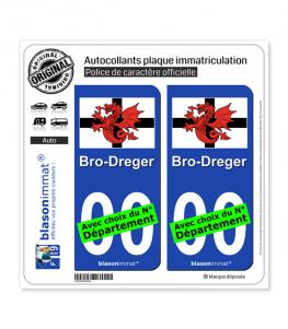 Trégor - Drapeau Blanc | Autocollant plaque immatriculation